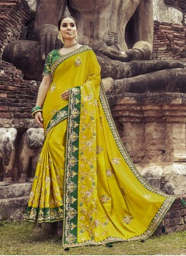 Dazzling Green Color Satin Silk Saree