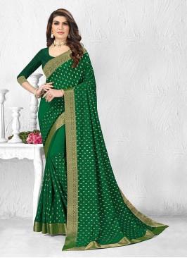 Dazzling Green Color Silk Saree