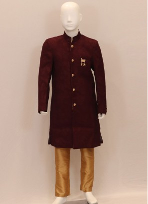 Dazzling Maroon Color Designer Kurta Pajama For Kids