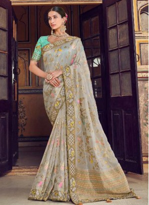 Dazzling Multi Color Festive Wear Embroidered Saree