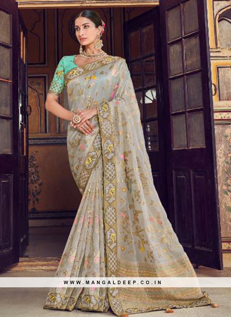 Dazzling Multi Color Festive Wear Embroidered Saree