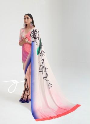 Dazzling Multi Color Satin Saree