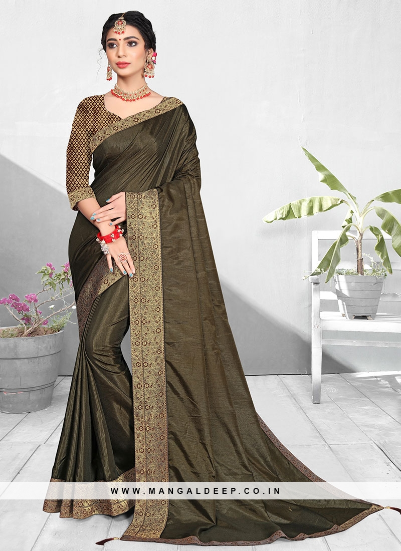Dazzling Olive Green Color Silk Fancy Saree