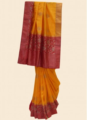 Dazzling Orange Color Festive Wear Saree