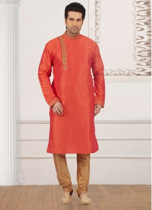 Dazzling Orange Color Party Wear Kurta Payjama