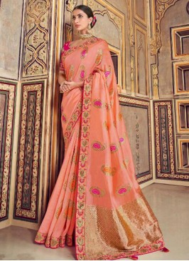 Dazzling Pink Color Festive Wear Embroidered Saree