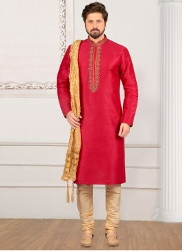 Dazzling Pink Color Party Wear Kurta Payjama