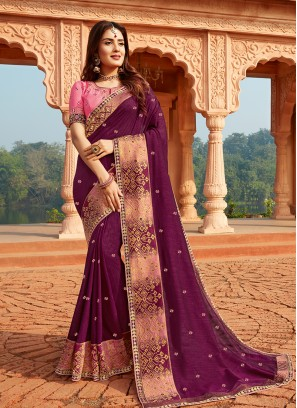 Dazzling Purple Color Silk Saree