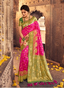 Dazzling Rani Color Banarasi Silk Saree