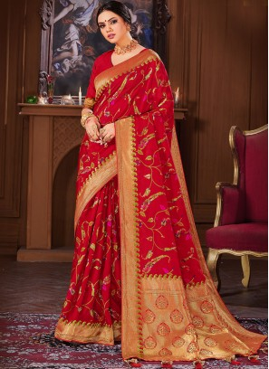 Dazzling Red Color Banarasi Silk Saree
