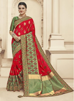 Dazzling Red Color Festive Wear Embroidered Saree