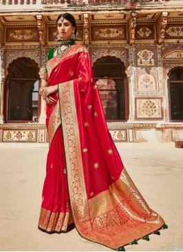 Dazzling Red Color Silk Saree
