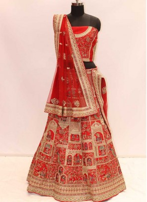 Dazzling Red Color Silk Wedding Wear Lehenga