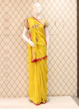 Dazzling Silk Yellow Colour Saree