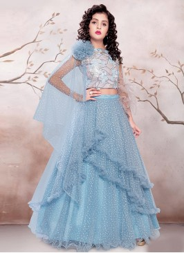 Dazzling Sky Blue Color Designer Choli Suit For Kids