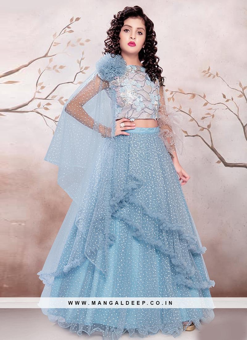 Dazzling Sky Blue Color Designer Choli Suit For Kids