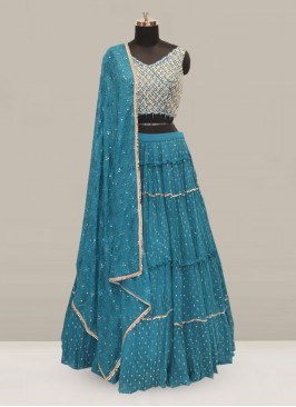 Dazzling Teal Color Party Wear Designer Lehenga Choli
