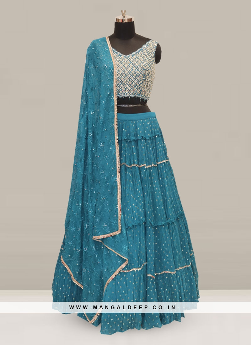 Dazzling Teal Color Party Wear Designer Lehenga Choli