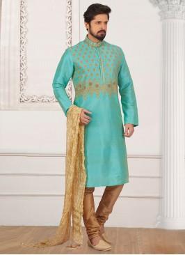 Dazzling Turquoise Color Designer Kurta Payjama