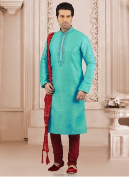 Dazzling Turquoise Color Party Wear Kurta Payjama