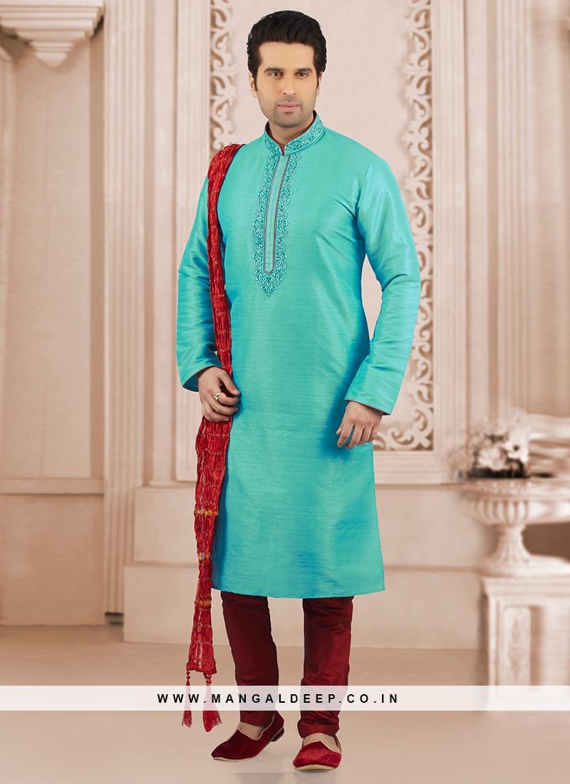 Dazzling Turquoise Color Party Wear Kurta Payjama