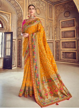 Dazzling Yellow Color Festive Wear Embroidered Saree