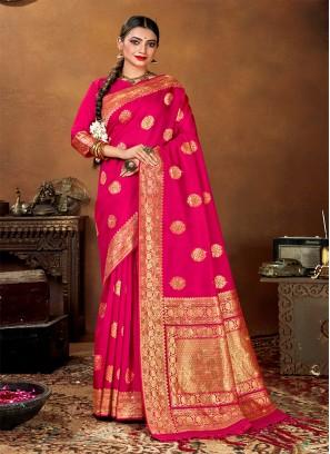 Deep Pink Color Banarasi Silk Saree