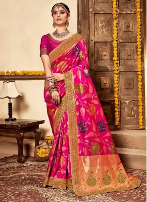 Deep Pink Color Banarasi Silk Saree For Girls