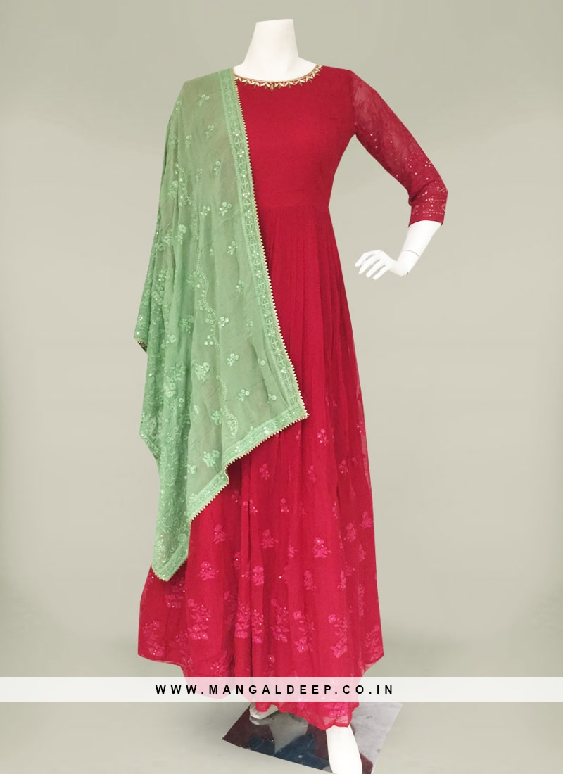 Deep Pink Color Georgette Long Dress