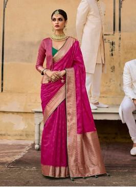 Deep Pink Color Jacquard New Saree