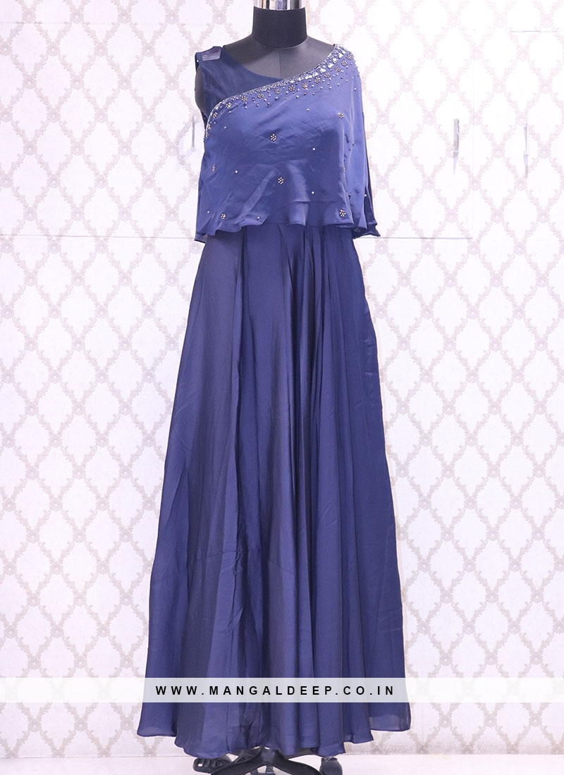 Delightful Blue Color Function Wear Designer Suit