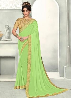 Delightful Green Color Function Wear Chiffon  Saree