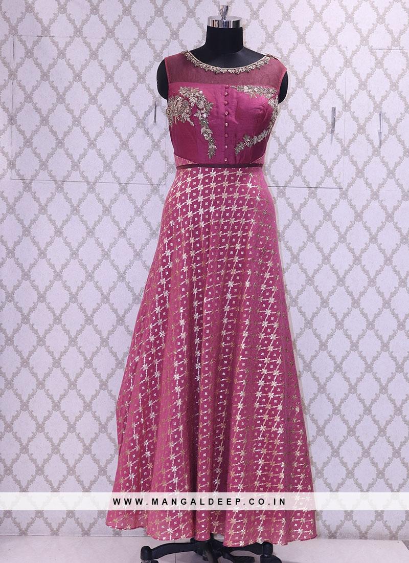 Delightful Pink Color Function Wear Designer Suit