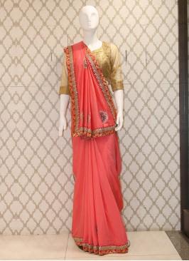 Delightful Pink Handwork Silk Saree