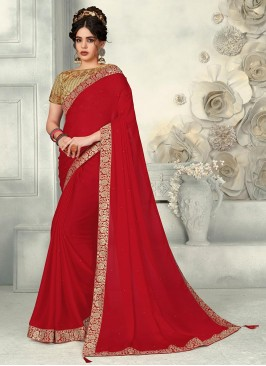 Delightful Red Color Function Wear Chiffon  Saree