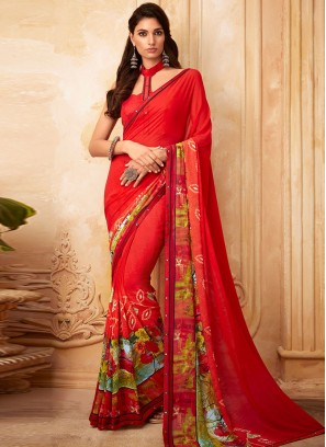 Delightful Red Color Function Wear Georgette Saree