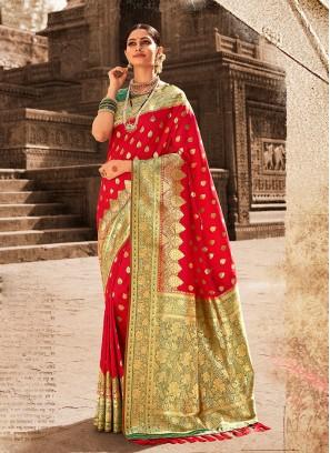 Designer Banarasi Silk Red Colour Saree