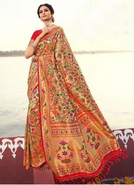 Designer Banarsi Silk Saree In Red