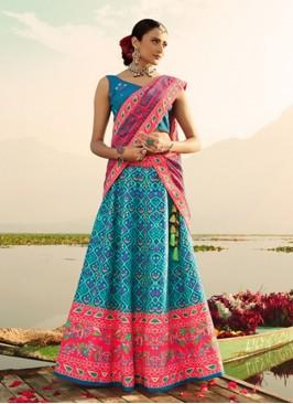 Designer Blue Silk Printed Lehenga Choli