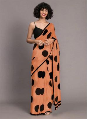 Designer Digital Printed Saree In Peach