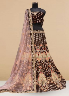 Designer Embroidered Black Color Lehenga Choli