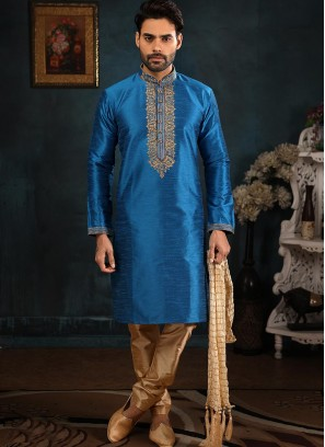 Designer Embroidered Fancy Blue Color Banarasi Art Silk Kurta Pajama