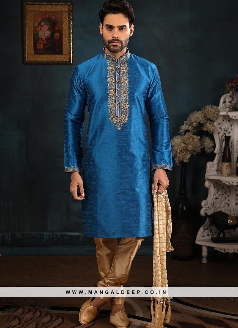 Designer Embroidered Fancy Blue Color Banarasi Art Silk Kurta Pajama