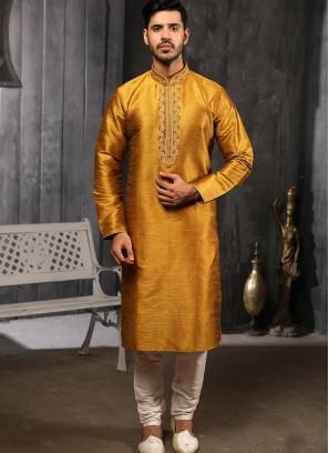 Designer Embroidered Fancy Gold Color Banarasi Art Silk Kurta Pajama
