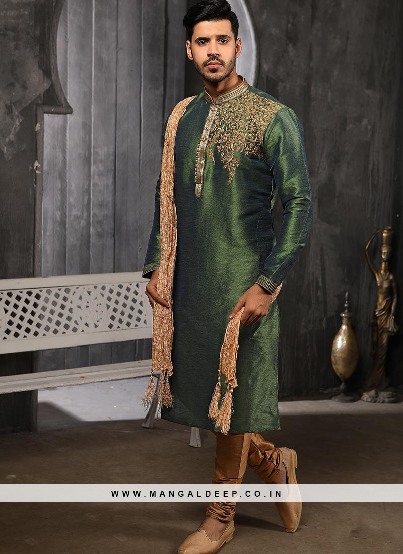 Designer Embroidered Fancy Green Color Banarasi Art Silk Kurta Pajama