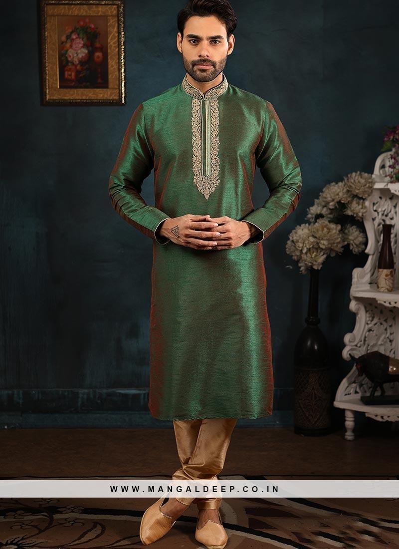 Designer Embroidered Fancy Green Color Banarasi Art Silk Kurta Pajama