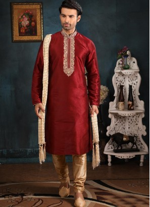 Designer Embroidered Fancy Maroon Color Banarasi Art Silk Kurta Pajama