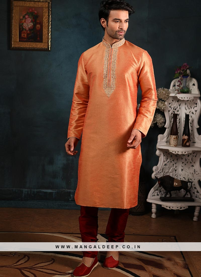 Designer Embroidered Fancy Peach Color Banarasi Art Silk Kurta Pajama