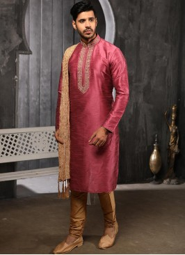 Designer Embroidered Fancy Pink Color Banarasi Art Silk Kurta Pajama