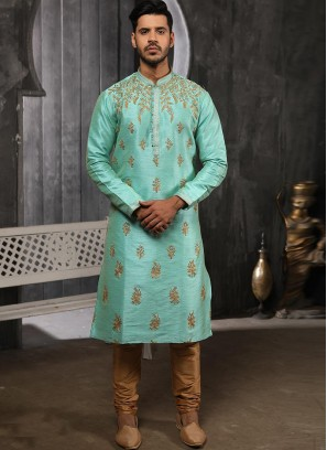 Designer Embroidered Fancy Sky Blue Color Banarasi Art Silk Kurta Pajama